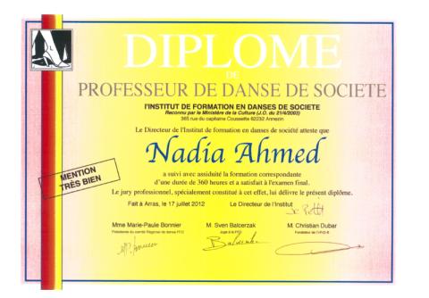 diplome danse, nadia ahmed, danse société